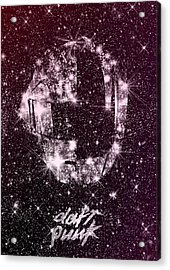Daft Punk Poster Helmets Print Space Stars Random Access Memories Disco Retro Digital Print Acrylic Print by Lautstarke Studio