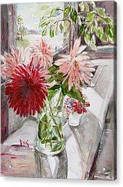 Dahlias Acrylic Print by Becky Kim
