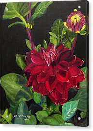 Acrylic Print featuring the painting Dahlias In My Garden by Linda Feinberg