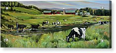 Acrylic Print featuring the painting Dairy Farm Dream by Nancy Griswold