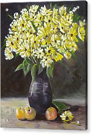 Daisies And Apples  Acrylic Print