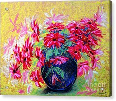 Daisies And Blue Vase Acrylic Print by Jasna Dragun