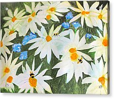 Acrylic Print featuring the painting Daisies And Bumblebees by Sandy McIntire