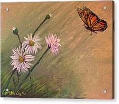 Daisies And Butterfly Acrylic Print