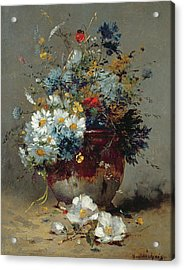 Daisies And Cornflowers Acrylic Print by Eugene Henri Cauchois