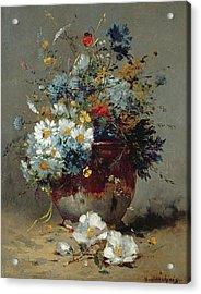 Daisies And Cornflowers Acrylic Print by Eugene Henri Cauchois