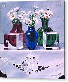 Daisies And Cubes Acrylic Print