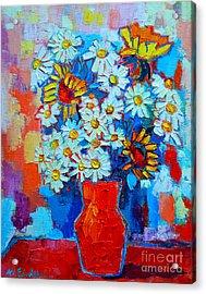 Daisies And Sunflowers Acrylic Print by Ana Maria Edulescu