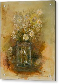 Daisies In A Jar Acrylic Print by Betty Stevens
