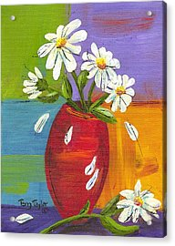 Daisies In A Red Vase Acrylic Print