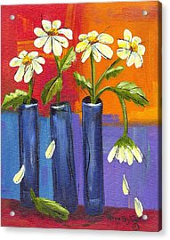 Daisies In Blue Vases Acrylic Print by Terry Taylor