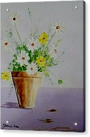 Acrylic Print featuring the painting Daisies In Pot by Jamie Frier