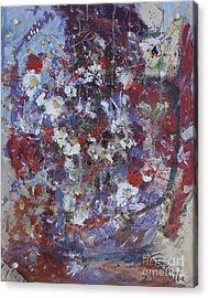 Acrylic Print featuring the painting Daisies In Purple by Avonelle Kelsey