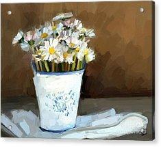 Daisies Study Acrylic Print by Carrie Joy Byrnes
