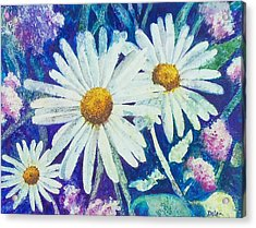 Acrylic Print featuring the painting Daisies by Susan DeLain