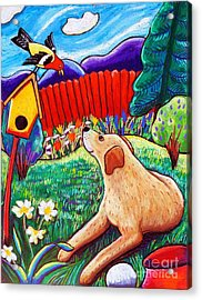 Daisy And The Tanager Acrylic Print by Harriet Peck Taylor