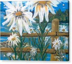 Acrylic Print featuring the painting Daisy Dance by Saundra Johnson