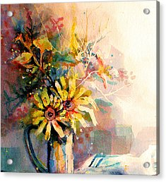 Acrylic Print featuring the painting Daisy Day by Linda Shackelford