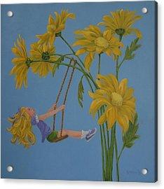 Acrylic Print featuring the painting Daisy Days by Karen Ilari