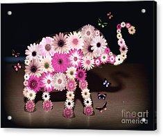 Daisy Elephant Acrylic Print