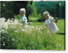 Daisy Field Of Innocents Acrylic Print by Elzire S