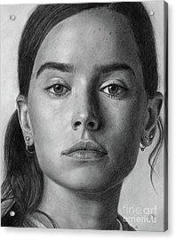 Daisy Ridley Pencil Drawing Portrait Acrylic Print