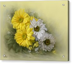 Acrylic Print featuring the painting Daisy Spring Bouquet by Bonnie Willis