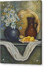 Daisy Stillife With Oranges Acrylic Print by Ann Arensmeyer
