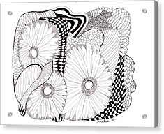 Daisy Zentangle Acrylic Print