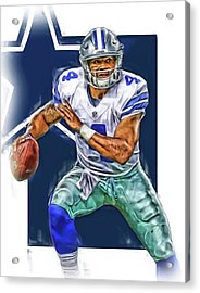 Dak Prescott Dallas Cowboys Oil Art Acrylic Print