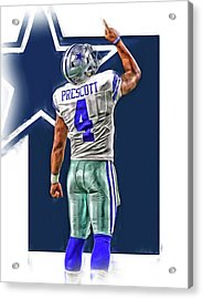 Dak Prescott Dallas Cowboys Oil Art Series 2 Acrylic Print