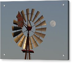 Dakota Windmill And Moon Acrylic Print by Keith Stokes