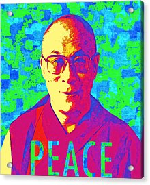 Dalai Lama - Retro Pop Art, Peace Acrylic Print by Stacey Chiew