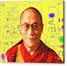 Dalai Lama - Yellow Acrylic Print by Stacey Chiew