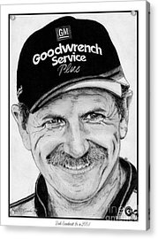 Acrylic Print featuring the drawing Dale Earnhardt Sr In 2001 by J McCombie