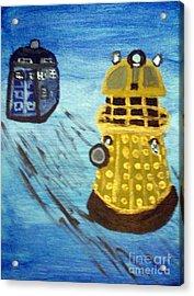 Dalek On Blue Acrylic Print by Elizabeth Arthur