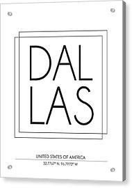 Dallas City Print With Coordinates Acrylic Print