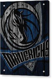 Dallas Mavericks Wood Fence Acrylic Print