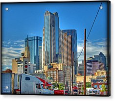 Dallas Morning Skyline Acrylic Print by Farol Tomson
