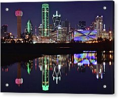 Dallas Reflecting At Night Acrylic Print by Frozen in Time Fine Art Photography