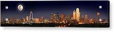 Dallas Skyline At Dusk Big Moon Night  Acrylic Print by Jon Holiday