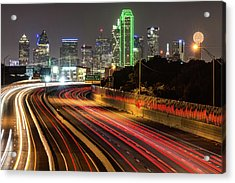 Acrylic Print featuring the photograph Dallas Skyline At Night by Gregory Ballos