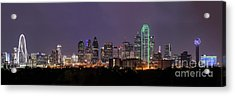 Dallas Skyline At Night Pano Acrylic Print