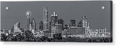Dallas Skyline Black And White Acrylic Print by Tod and Cynthia Grubbs