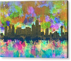 Dallas Skyline Brush Strokes 2 Acrylic Print