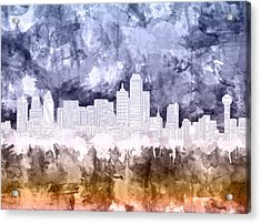 Dallas Skyline Brush Strokes 3 Acrylic Print
