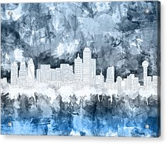 Dallas Skyline Brush Strokes Blue 2 Acrylic Print
