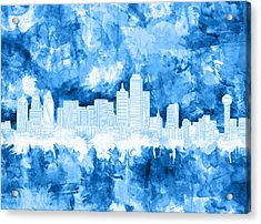 Dallas Skyline Brush Strokes Blue Acrylic Print