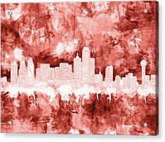 Dallas Skyline Brush Strokes Red Acrylic Print