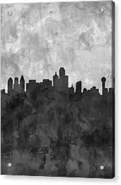 Dallas Skyline Grunge Black And White Acrylic Print